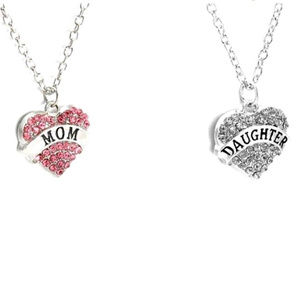 Jewelry - MOM & DAUGHTER Necklace Set 2 pc Crystal Heart New